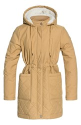 Roxy Slalom Chic Faux Shearling Trim Waterproof Parka Curry