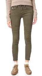 Free People Stretch Midnight Magic Moto Skinny Jeans Olive