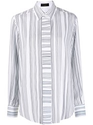 Piazza Sempione Striped Print Long Sleeved Shirt White