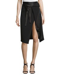 Halston Draped Faux Wrap Skirt W Cutaway Hem Black