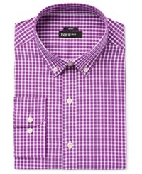 Bar Iii Men's Slim Fit Stretch And Easy Care Mulberry Check Dress Shirt Only At Macy's