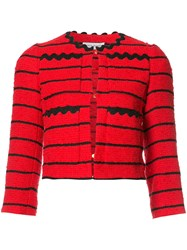 Sonia Rykiel Striped Cropped Jacket Red