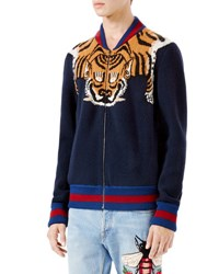 Gucci Wool Knitted Jacket With Tiger Stripe Brown
