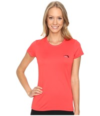 The North Face Short Sleeve Reaxion Amp Tee Melon Red Biking Red Multi Women's T Shirt Orange