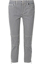 Current Elliott The Cropped Lexton Striped High Rise Slim Leg Jeans Navy