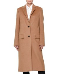 Valentino Long Wool Coat W Rockstud Collar Camel