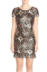 Maia Sequin Mesh Shift Dress Bronze