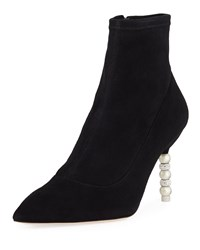 Sophia Webster Coco Suede Crystal And Pearly Booties Black