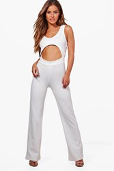 Boohoo Hattie Cut Out Backless Jumpsuit Ivory