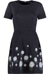 Markus Lupfer Ditsy Daisy Floral Embroidered Jersey Mini Dress Navy