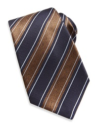 Kiton Wide Rope Stripe Woven Tie Navy Brown