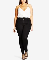 City Chic Trendy Plus Size Asha Skinny Jeans Black