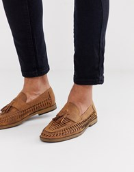 New Look Faux Leather Woven Tassel Loafer In Tan