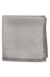 Eton Men's Dot Silk Pocket Square Taupe