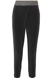 Brunello Cucinelli Stretch Silk Tapered Pants Charcoal