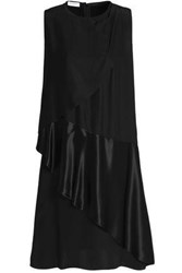 Vionnet Satin Paneled Draped Silk Cady Dress Black