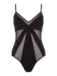 Kenneth Cole Sheer Satisfaction Mesh Cut Out Swimsuit Black