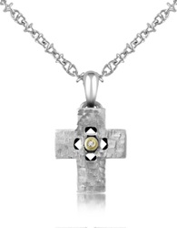 Forzieri Diamond And Hammered Stainless Steel Cross Pendant Necklace Silver