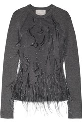 Jason Wu Feather Embellished Tulle And Ribbed Wool Blend Sweater Dark Gray