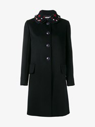 Miu Miu Floral Embellished Wool Coat Blue Navy Blue Purple