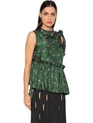 Marco De Vincenzo Floral Printed Silk Satin Top