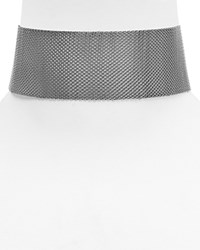 Aqua Jazzy Wide Mesh Choker Necklace 11 Silver