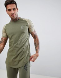 Gym King Muscle Logo T Shirt In Khaki With Contrast Sleeves Green