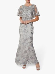 Gina Bacconi Darby Embroidered Maxi Dress Grey Silver