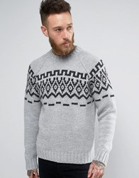 Asos Knitted Jumper With Aztec Design In Wool Mix Yarn Grey