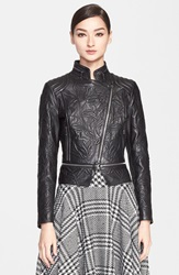 Escada Embossed Lambskin Leather Jacket Black