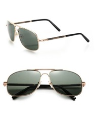 Montblanc 61Mm Navigator Sunglasses Gold Green