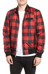 Members Only Iconic Check Racer Jacket Dark Red