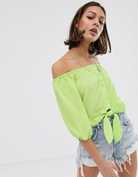 Bershka Bardot Blouse In Green Green