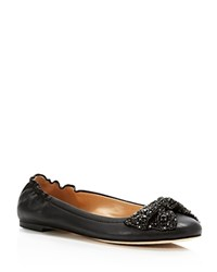 Tory Burch Bonneville Jeweled Bow Ballet Flats Black