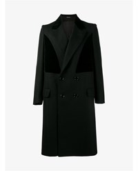 Alexander Mcqueen Virgin Wool And Velvet Panelled Coat Black Denim