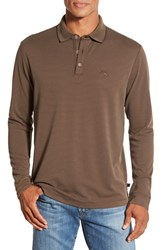 Men's Tommy Bahama 'Superfecta' Stripe Long Sleeve Polo Coffee