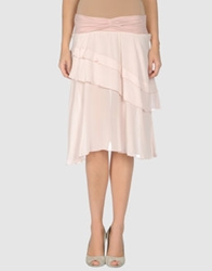 European Culture Knee Length Skirts Light Pink