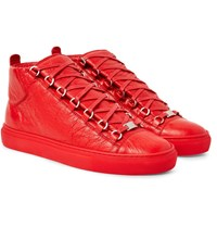 Balenciaga Arena Creased Leather High Top Sneakers Red