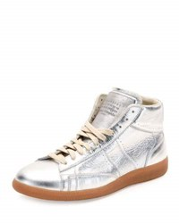 Maison Martin Margiela Replica Metallic Leather Mid Top Sneaker Silver Amber
