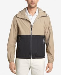 Izod Men's Colorblocked Hooded Windbreaker Black Khaki