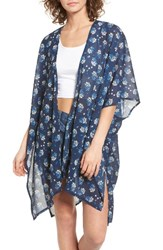 David And Young Women's Floral Print Ruana Navy