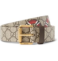 Gucci 3Cm Printed Coated Canvas Belt Brown