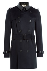 Burberry London Wool Cashmere Trench Coat With Leather Collar Blue