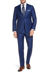 Hickey Freeman Big And Tall Classic B Fit Stripe Wool Suit Blue