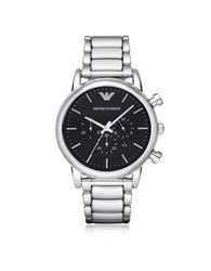 Emporio Armani Luigi Silvertone Stainless Steel Men's Watch W Black Dial