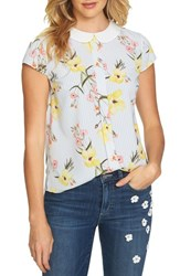 Cece Botanical Blooms Collared Top Ultra White