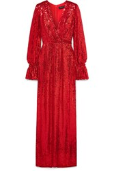 Jenny Packham Niari Wrap Effect Sequined Silk Chiffon Gown Red