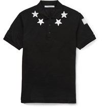 Givenchy Cuban Fit Star Appliqua D Cotton Piqua Polo Shirt Black