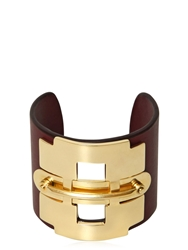 Tod's Leather And Metal Horse Bit Bracelet Bordeaux