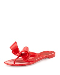 Valentino Couture Bow Jelly Flat Thong Sandal Red